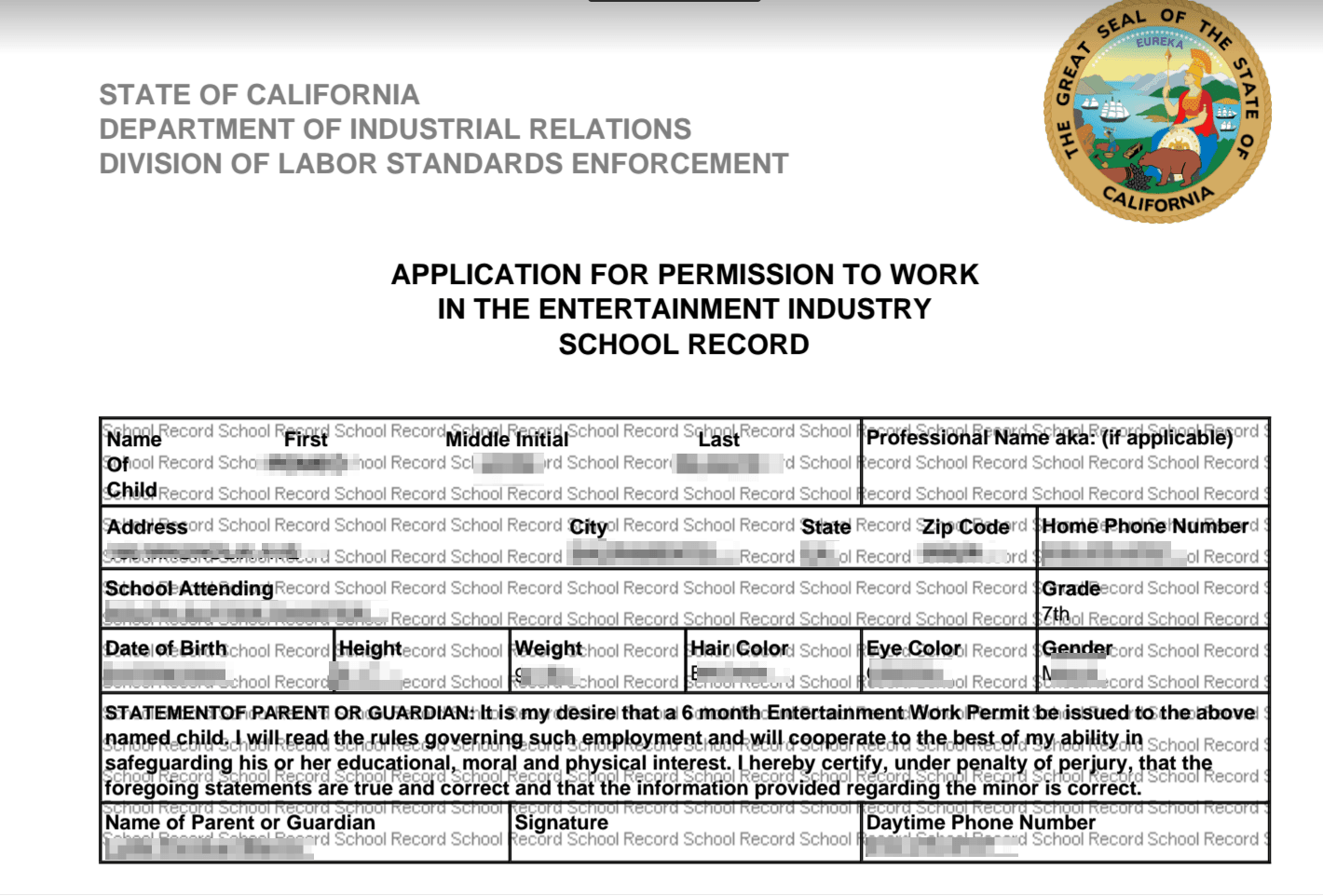 Entertainment Industry Work Permits