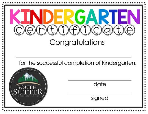 SSCS Kindergarten Completion Certificate